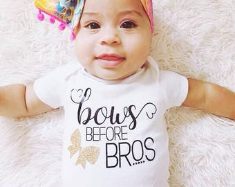 Bows Before Bros Baby Bodysuit, Baby Girl, Girl Clothing, Funny, Pretty, Baby Clothes, Baby Gift, Baby Shower