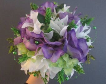Bridal bouquet round artificial, nature, rustic, white, green and purple flowers.