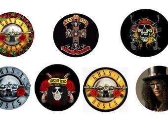 7 PINS pins 25 mm GUNS N ' ROSES music punk rock goth dark metal