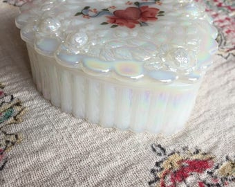 Fenton Glass Heart Shaped Trinket Box, hand painted by D. (Dan) Anderson