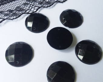 5 big round sewing rhinestones black 16 mm resin 5 rhinestones (WN16)