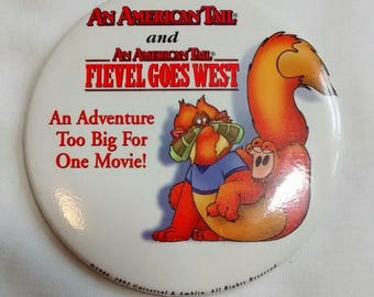 Vintage American Tail Fievel Goes West Button, Badge, Pin, 1991
