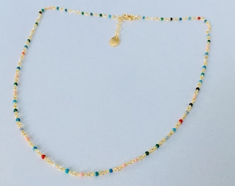 Necklace gold plated multicolor beaded chain 24 k