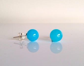 Earrings blue glass beads. Handmade by Rosa Rueda Lampwork Murano glass beads