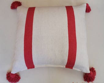 Authentic Moroccan Cushion  , Cover pillow, Cotton  pillow with pom-poms , Berber cushion .