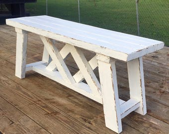 Distressed Double X bench