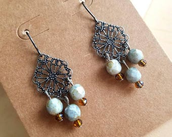 Delicate medallion earrings with Czech glass beads