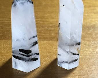 Black Tourmaline included quartz point.  Pick one, just let me know which thick,tall or both . Pick in the variations at checkout