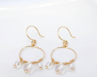 Clear Crystal Earrings Women's Earrings Crystal Hoop Earrings Clear Glass Earrings Yellow Gold Clear Crystal Earrings Dlangle Hoop Earrrings
