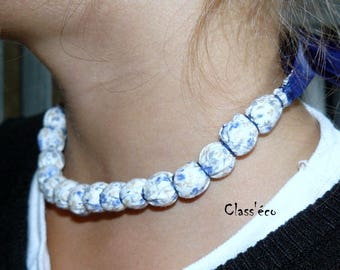 fabric covered beaded Choker necklace