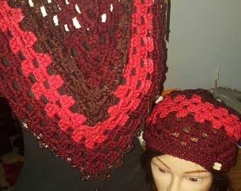 Apple harvest bandana scarf and matching hat set