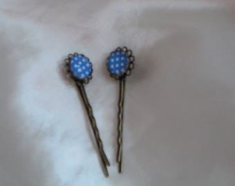 HAIR PINS WITH CABOCHON GINGHAM BLUE AND WHITE