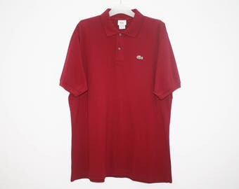 Lacoste Red Cotton Polo Shirt Made In France Size 7