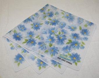 49 AV Junko Shimada White Blue Floral Pattern Handkerchief 17.50 x 17.75