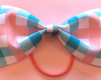 Large Hair Bow - Pink and Blue