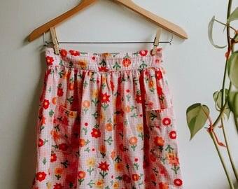 70's vintage handmade half apron - pink with floral print