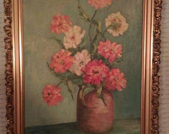 Vintage Floral Still Life Oil Painting