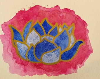Watercolor painting / Blue Lotus