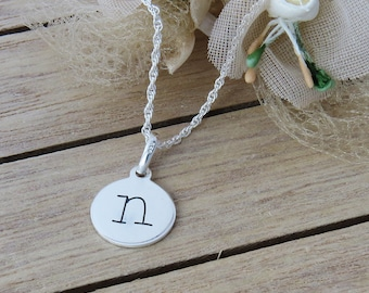 Personalized Silver Disc Necklace, Sterling Silver, Disc Charm Necklace, Personalized Jewelry, Silver Initial Pendant, Initials Necklace