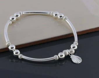 Sterling Silver Beaded Bracelet with Seashell Charm, Beach Bracelet