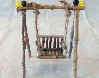 Fairy Miniature Rustic Swing Made With Twigs, Twine, 2 Brown Wood Beads And 2 Yellow Beads