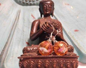 Gorgeous Orange Wire Wrapped Boho Earrings