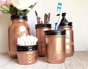Rose Gold Bathroom Set - Rose Gold Decor - Decorated Mason Jars - Repurposed Glass - Matte Black - Chic Bathroom - Rose Gold Mason Jars -