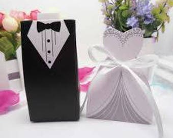 Bride and Groom Wedding Favour Boxes pk of 10