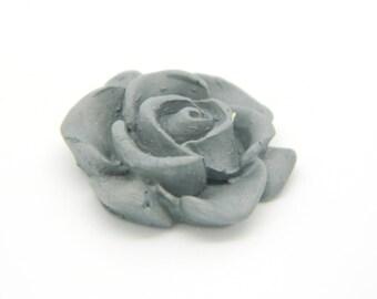 1 x cabochon fimo flower grey 20mm (l624)