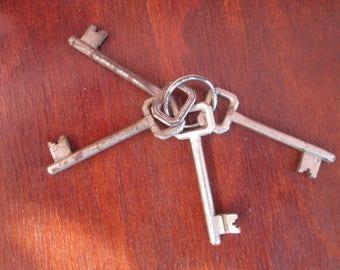 Four old iron keys,Old Key Collection,Old Primitive Keys, Vintage keys,Lot Antique Keys, Home decor, Garage decor