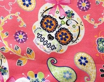 coupon 50 X 50 cm patchwork fabric / pink skull