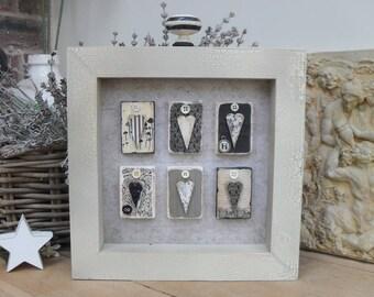 VINTAGE STYLE Monochrome Heart Box Plaque, Distressed Crackle Wood, Home Decor, Shelf Sitter, Black White