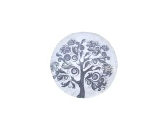Cabochon glass 18 mm black tree