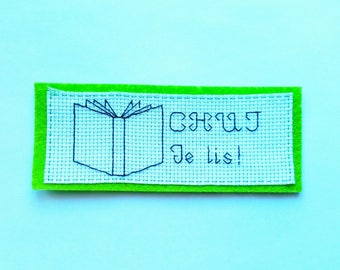 Embroidered cross stitch reading bookmarks