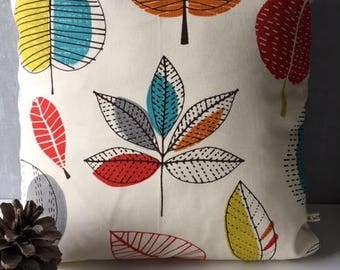 "Beautiful Abstract Leaf Pattern Cushion Cover in Shades of Orange and Cream 16"" x 16"""