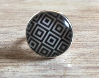 Cabochon 20 mm silver plated ring