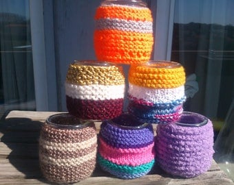 Candle almond cover hand-knitted yogurt pot