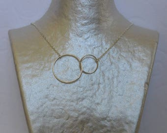 Double circle necklace and silver chain