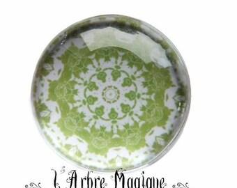 2 cabochons glue Mantra Mandala glass 14 mm - 4