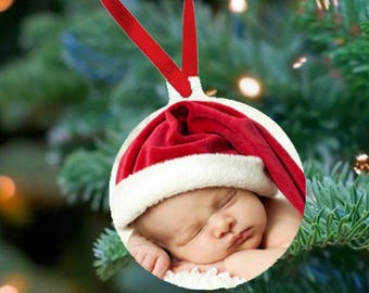 Personalized Photo Tree Ornament - Round