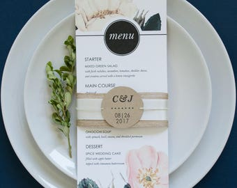 Promising Prelude Wedding Reception Dinner Lunch Menu Floral Watercolor Border Printable Editable PDF Instant Downloadable Card Template