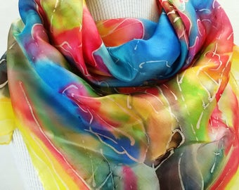 Autumn Silk  Shawl hand painted  Blue Red Silk Shawl Hand Painted autumn sky Scarf Silk Scarf Gift For Her