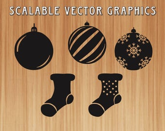 christmas ornaments svg cut file, stockings svg, christmas svg cut file, stockings printable, ornaments cut and print, christmas vector