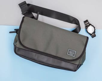 Tank Shoulder Bag, Leather bottom, high quality Nylon, Celadon