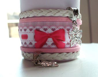 Bracelet liberty, pink & white shabby charms butterflies, 35 mm