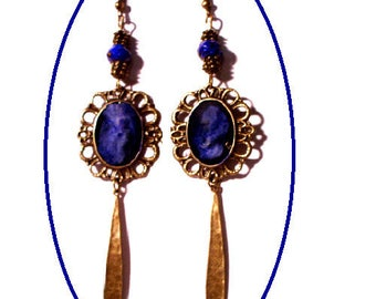Vintage bronze earrings, shades of blue cabochons