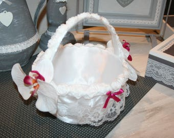 basket for petals or confetti wedding maid of honor lace and little pink orchids
