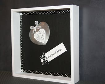 "black and white heart frame ""home sweet home"""