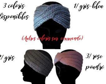 Headband,  Hand-Knitted /Serre-tête Bandeau, Bande Laine et acrylique, Tricoté-main, Couvre-Oreille