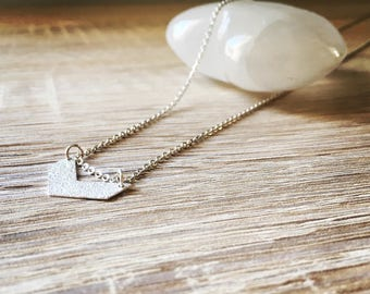 Chevron half glittery silver long necklace